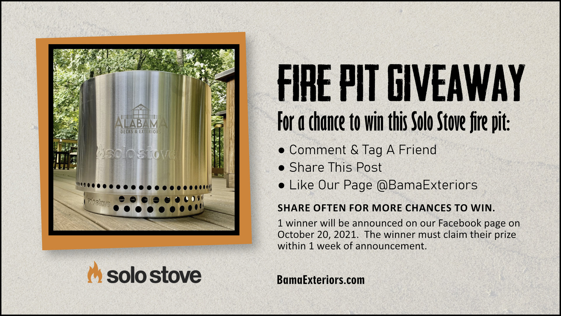 Win a FREE Solo Stove from Alabama Decks & Exteriors!