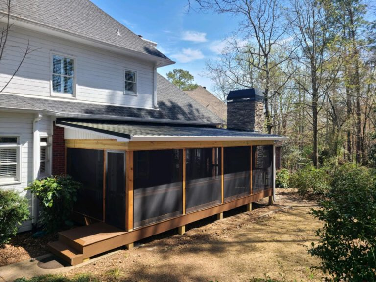 Screened In Porch w- Stone Outdoor Fireplace Tongue & Groove Ceiling - Shelby County Alabama Deck Contractors