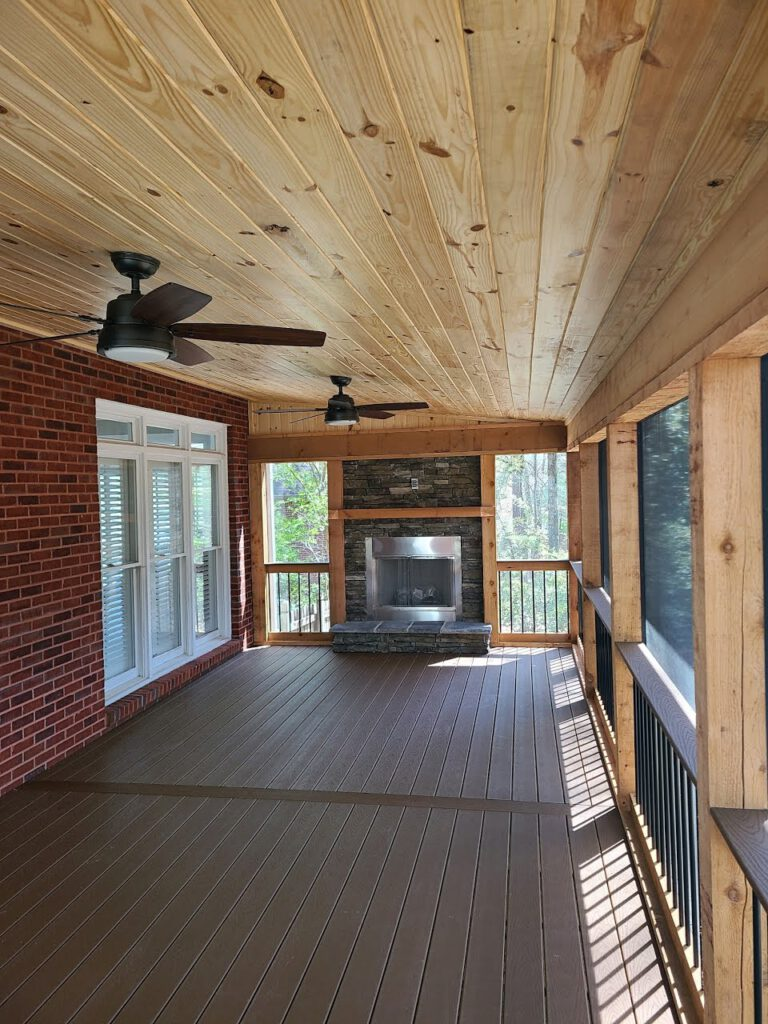 Screened In Porch w- Tongue & Groove Ceilings & Outdoor Fireplace by Alabama Decks & Exteriors - Shelby County Deck Contractors