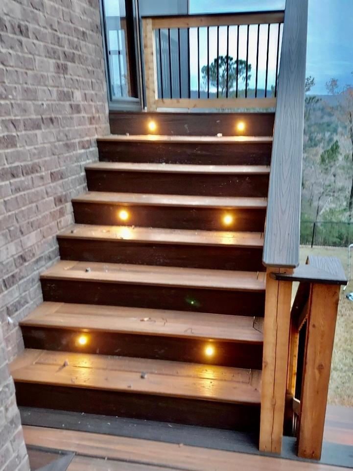 Trex Composite Deck Stairs Installation w- Lighting by Alabama Decks & Exteriors